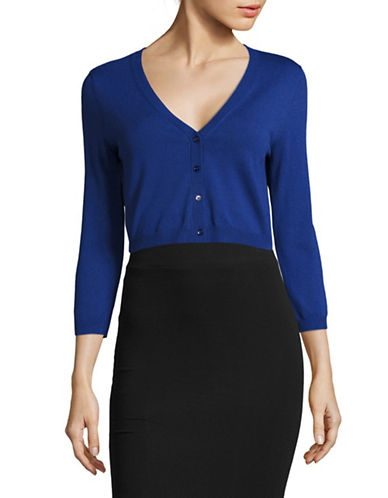 Weekend Max Mara Modico Cropped Rib-Knit Sweater-BLUE-Large