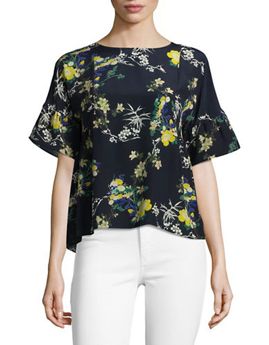 Weekend Max Mara Silk Boxy Floral Blouse-ULTRAMARINE-EUR 48/US 14