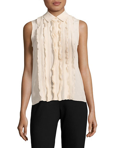 Weekend Max Mara Fungo Ruffled Silk-Blend Blouse-SAND-Large