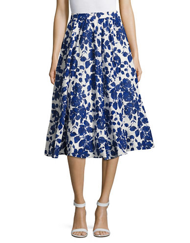 Weekend Max Mara Floral Print A-Line Skirt-BLUE-EUR 48/US 14