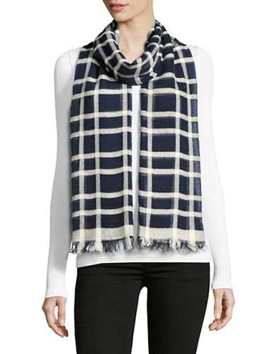 Weekend Max Mara Strenna Checked Scarf-BLUE-One Size
