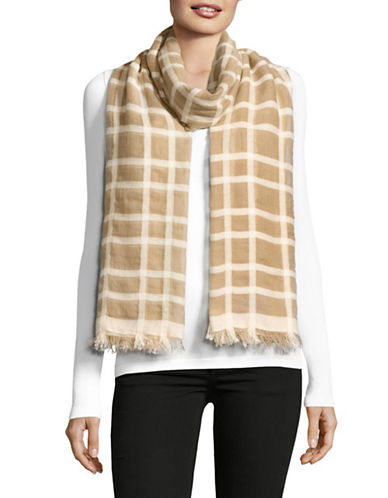 Weekend Max Mara Strenna Checked Scarf-CAMEL-One Size
