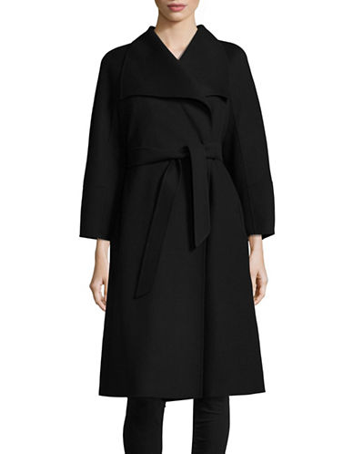 Max Mara Studio Cremona Wool-Blend Self-Tie Coat-BLACK-EUR 48/US 14