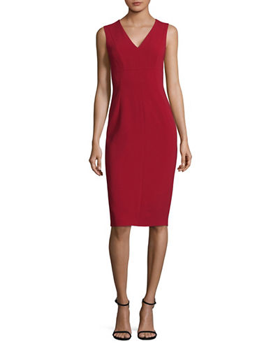 Max Mara Studio Legge V-Neck Sheath Dress-RED-EUR 48/US 14