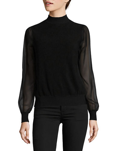 Max Mara Studio Sheer Panel Turtleneck-BLACK-Medium