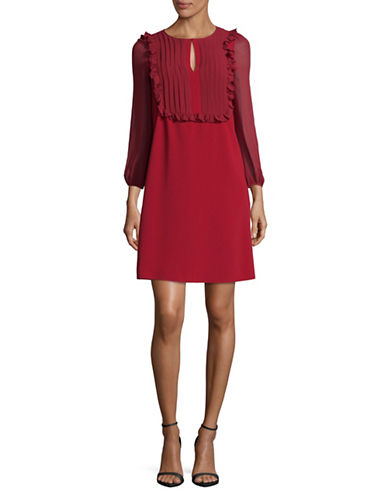 Max Mara Studio Bisous Plastron A-Line Dress-RED-EUR 50/US 16