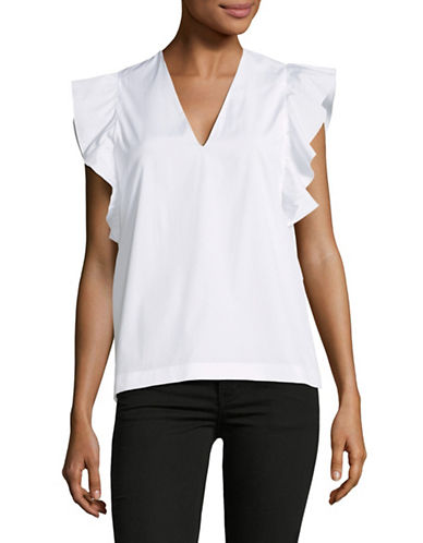 Max Mara Studio Libro Ruffle-Sleeve Top-OPTICAL WHITE-EUR 46/US 12