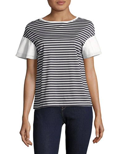 Weekend Max Mara Pugnale Striped Cotton Top-ULTRAMARINE-X-Small