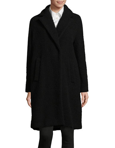 Marella Wool Blend Textured Car Coat-BLACK-2