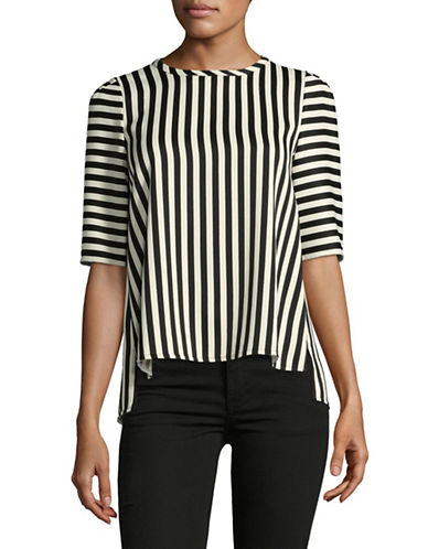 Marella Riva Stripe Crepe Top-BLACK-2