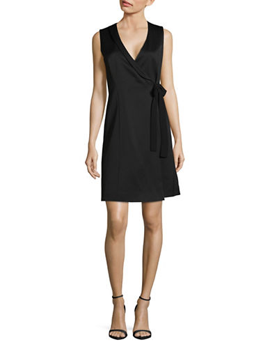 Marella Kiwi Sleeveless Wrap Dress-BLACK-12