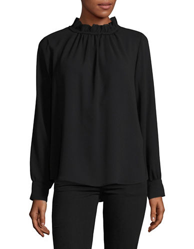 Marella Ruffled High Neck Blouse-BLACK-6