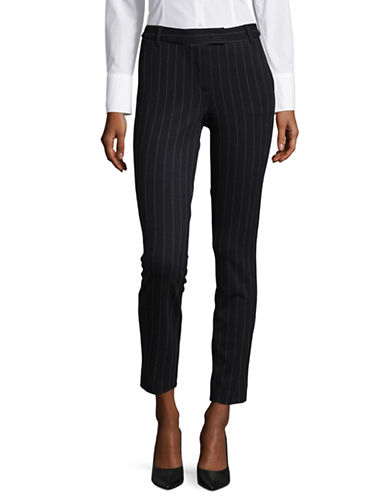 Marella Stripe-Stitch Slim Cigarette Capris-NAVY-4