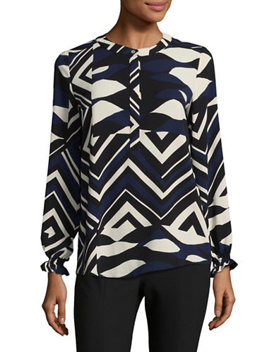 Marella Printed V-Neck Blouse-BLACK-8