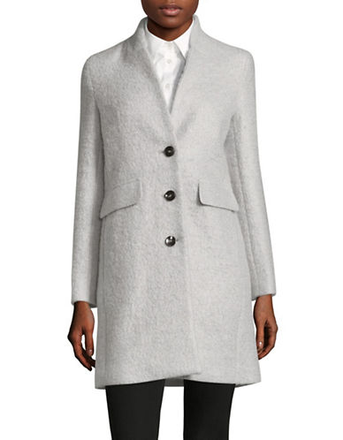 Marella Wool Blend Mohair Car Coat-GREY-2