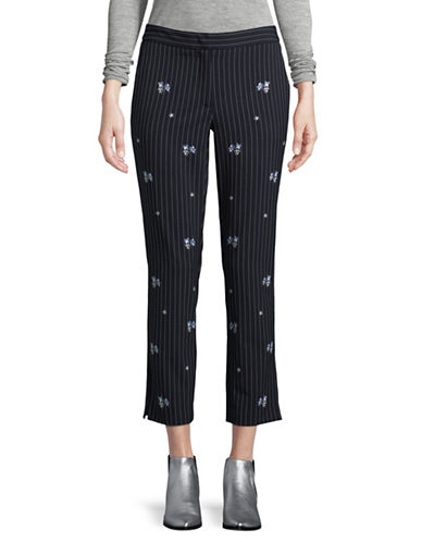 Marella Loretta Striped Floral Pants-NAVY-4