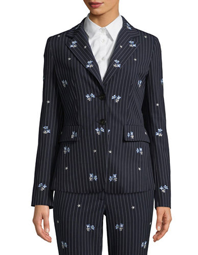 Marella Folle Striped Floral Blazer-NAVY-6