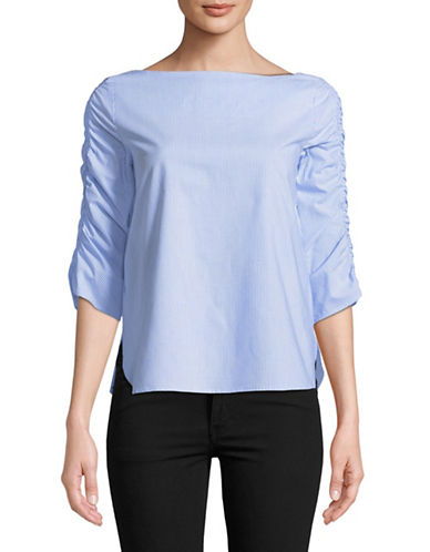 Marella Naval Poplin Cotton Blouse-BLUE-2