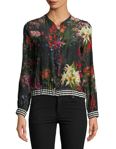 Marella Manche Floral Silk Blouse-BLACK-8