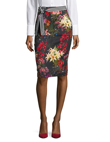 Marella Kiku Floral-Print Pencil Skirt-BLACK-10
