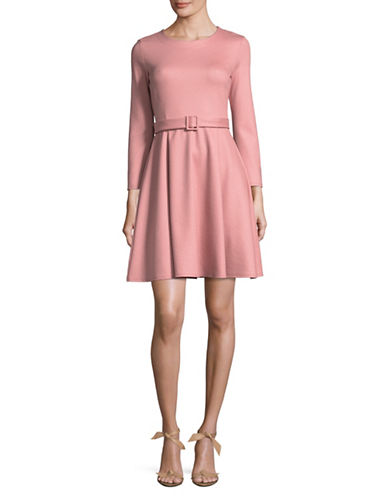 Marella Alghero Belted Wool-Blend Flare Dress-PINK-Large