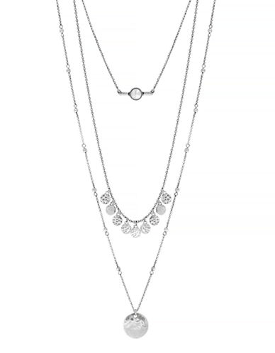 Lucky Brand Lucky Layer Pearl Necklace-SILVER-One Size