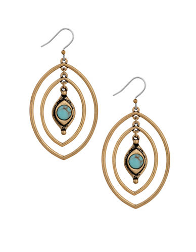 Lucky Brand Goldtone Double Oval Earrings-GOLD-One Size
