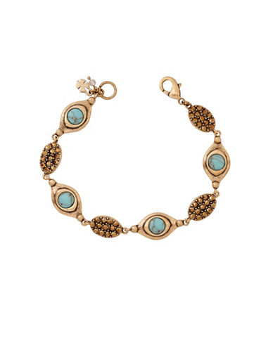 Lucky Brand Goldtone Turquoise Link Bracelet-GOLD-One Size