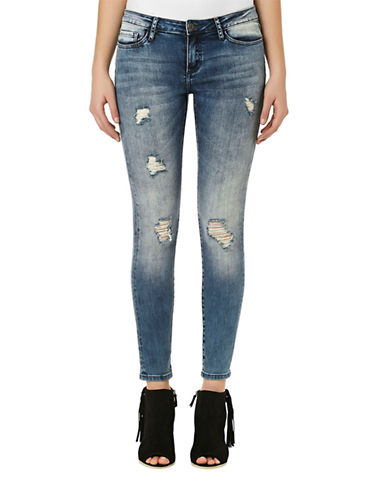 Buffalo David Bitton Distressed Stretch Skinny Jeans-BLUE-27