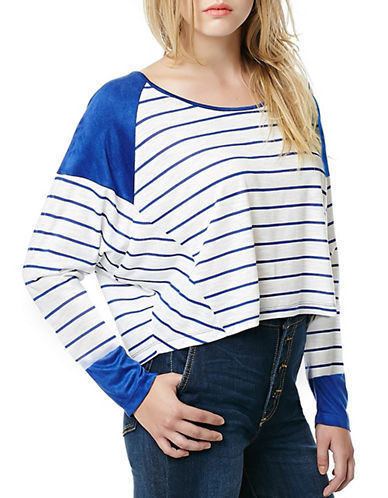 Buffalo David Bitton Side-Dance Dolman Crop Top-BLUE-Medium 88110949_BLUE_Medium