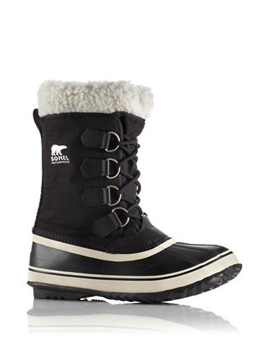 Sorel Winter Carnival Boots with Faux Fur-BLACK-10