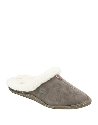 Sorel Nakiska Suede Slippers with Faux Fur-SHALE-9