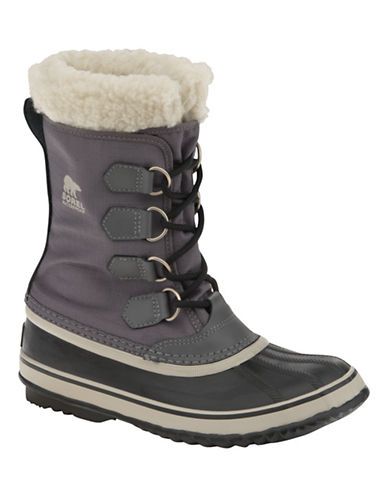 Sorel Winter Carnival Boots with Faux Fur-PEWTER-9
