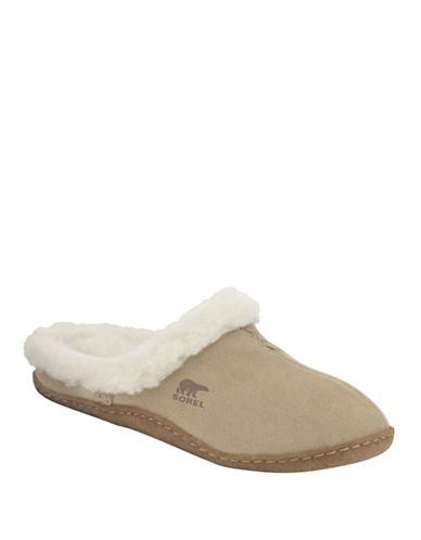 Sorel Nakiska Suede Slippers with Faux Fur-INCENSE-7