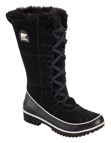 Sorel Tivoli High II Suede Boots with Faux Fur-BLACK-6