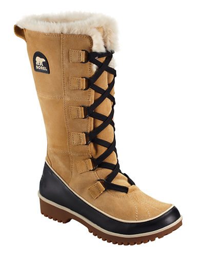 Sorel Tivoli High II Suede Boots with Faux Fur-CURRY-7.5