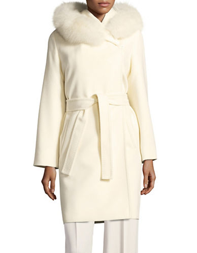 Max Mara Studio Diritt Fur-Trimmed Short Coat-MILK-EUR 50/US 16