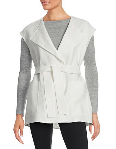 Weekend Max Mara Destino Belted Linen-Blend Waistcoat-WHITE-EUR 44/US 10