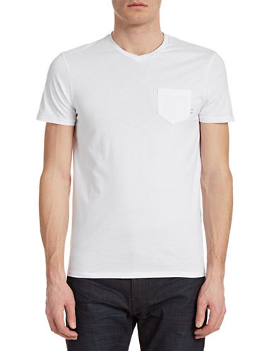 Armani Jeans V-Neck Patch Pocket T-Shirt-WHITE-Large 88157842_WHITE_Large