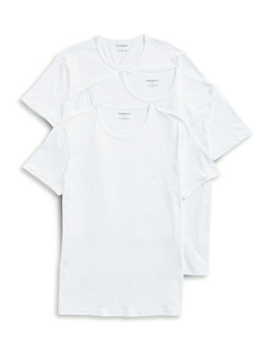 Emporio Armani Underwear Three-Pack Cotton Crew Neck Tees-WHITE-Small