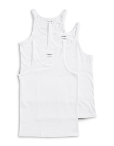 Emporio Armani Underwear Three-Pack Cotton Tank Tops-WHITE-Large