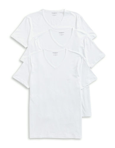 Emporio Armani Underwear Three-Pack Cotton V-Neck Tees-WHITE-Medium