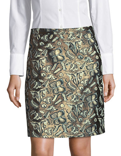 Weekend Max Mara Picato Jacquard Skirt-GREEN-EUR 50/US 16