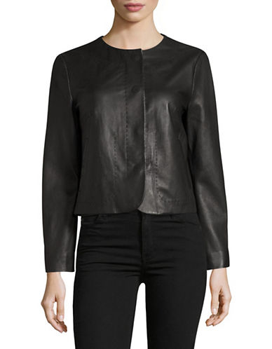 Weekend Max Mara Taso Leather Jacket-BLACK-EUR 48/US 14