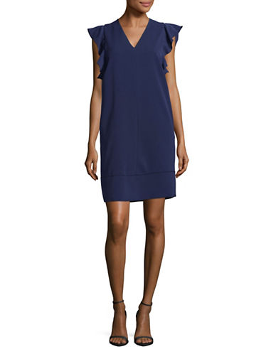 Max Mara Studio Trofeo Ruffle Shoulder Dress-BLUE-EUR 46/US 12