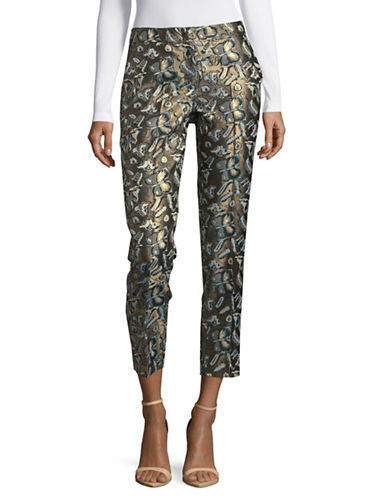 Weekend Max Mara Landa Embroidered Cropped Trousers-GREEN-EUR 44/US 10