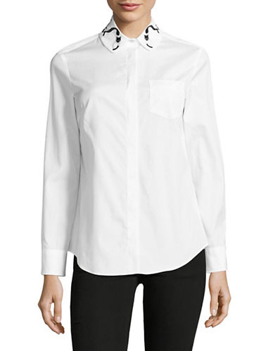 Weekend Max Mara Embroidered Collar Sport Shirt-WHITE-EUR 40/US 6