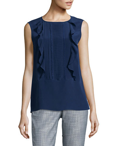 Max Mara Studio Diletta Silk Top-BLUE-EUR 50/US 16
