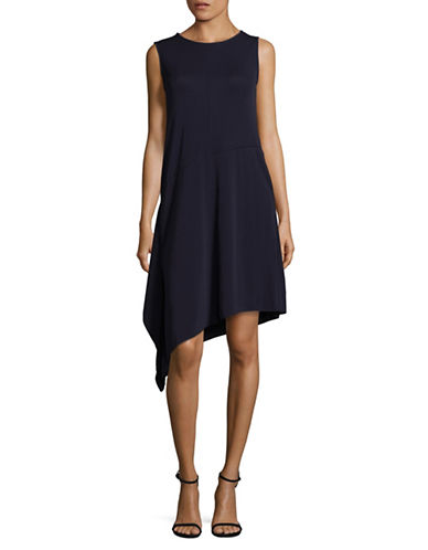 Max Mara Studio Asymmetrical Hem Shift Dress-ULTRAMARINE-Large