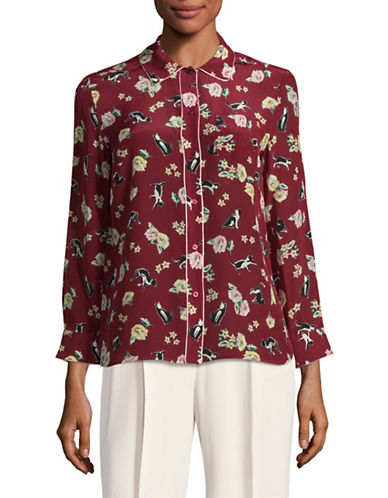 Weekend Max Mara Aeroso Silk Button-Up Top-RED-EUR 36/US 2